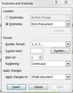 image of Word's endnote options dialogue