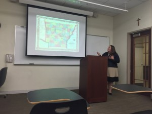 Terra Votaw presents her paper at the IHS Student Research Workshop at Loyola University