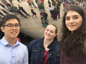 "ACRE fellows Kai Tay, Terra Aquia and Maleka Momand visit Chicago's famous ""Bean"" Sculpture while attending the Students for Liberty Regional Conference at Loyola University, October 23-25, 2015"