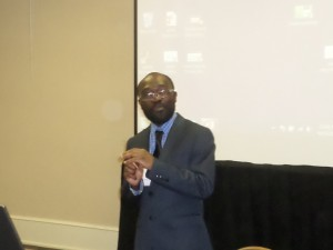 "ACRE Policy Analyst, Dr. Mavuto Kalulu presents his research on ""Public School Choice Utilization in Arkansas"" at SOBIE."