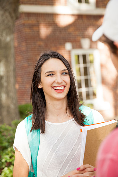 Female student talking outside