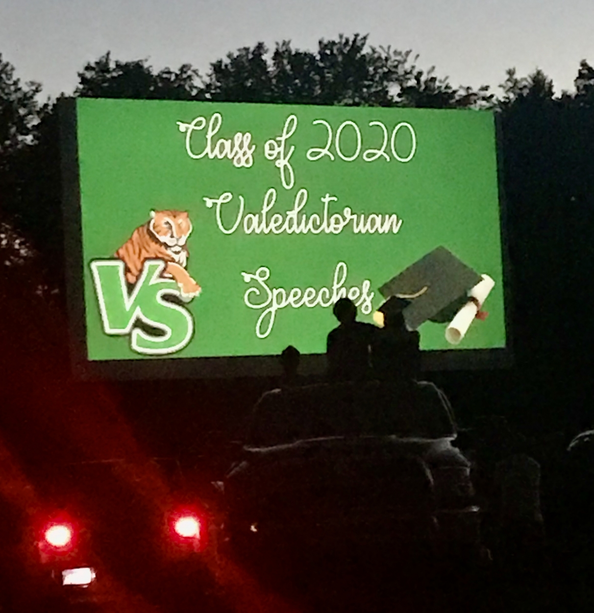 The screen at the Kenda Drive-in during the Valley Springs High School graduation.