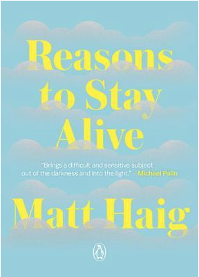 Light blue book cover with yellow text that says Reasons to Stay Alive by Matt Haig