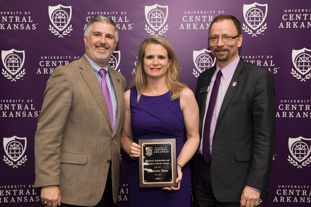 President Houston Davis; Dr. Charlotte Yates, Department of Physical Therapy, the 2017 Research, Scholarship and Creative Activity Award recipient; and Dr. Steve Runge, executive vice president and provost