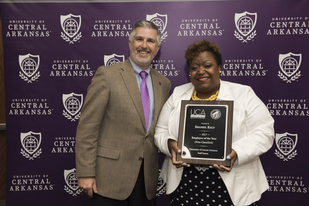 President Houston Davis with Dr. Shaneil Ealy, Division of Outreach and Community Engagement, 2017 non-classified Employee of the Year