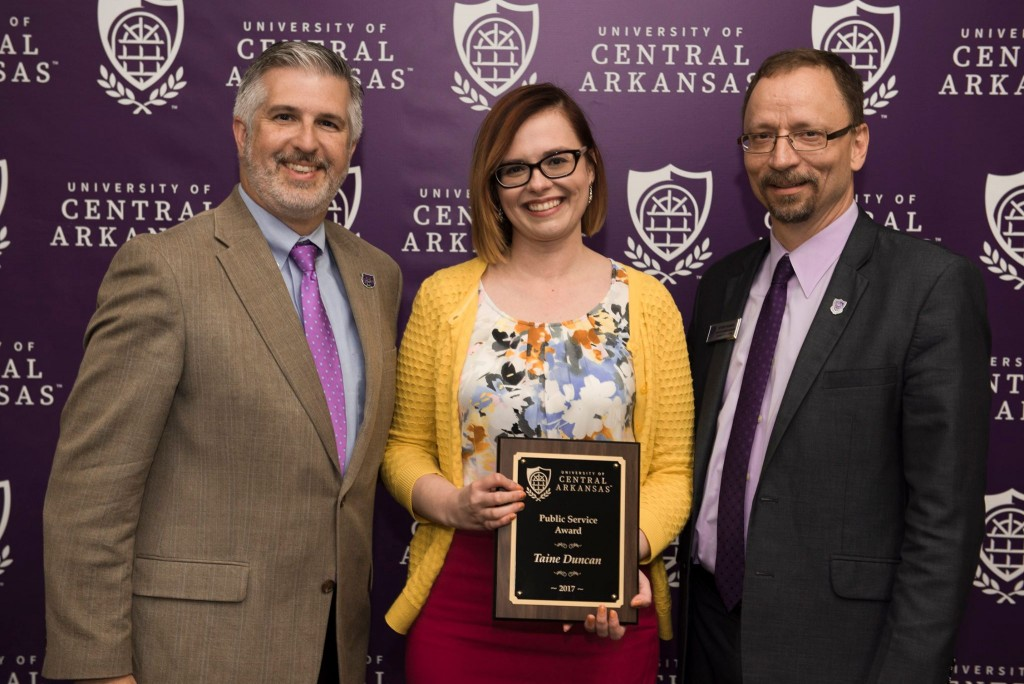 President Houston Davis; Dr. Taine Duncan, Department of Philosophy and Religion, the 2017 Public Service Award recipient; and Dr. Steve Runge, executive vice president and provost