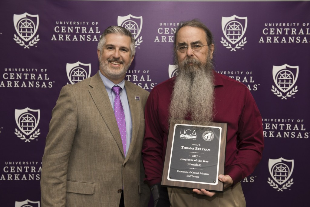 President Houston Davis with Thomas Bertram, Schedler Honors College, 2017 classified Employee of the Year
