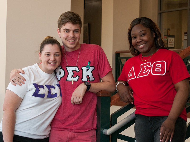 Greek Students in Student Center