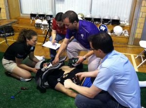 Pictured from left to right are: NHMI Athletic Training Resident Theresa Chester, NHMI Executive Director Laura Decoster, Steve Tucker and University of New Hampshire associate professor Dr. Erik Swartz