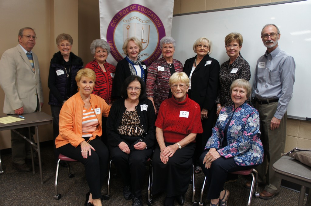 Members of the Faulkner County Retired Teachers Association who participated in the recent mock interview project with the UCA College of Education include: (Front row, left to right) Jennie Webb, Mary Pat Cullum, Laura Clark, Sharon Rapp (Back row, left to right) Steve Clark, Doretta Bright, Kathryn Starr, Becky Vint, Julia Fraser, Mary Kay Joslin, Carolyn Lewis, Hervey Galloway