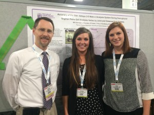 Dr. Kevin Garrison, Associate Professor, Kristian Foster and Julie Forester, second-year Doctor of Physical Therapy students, present research at the CSM
