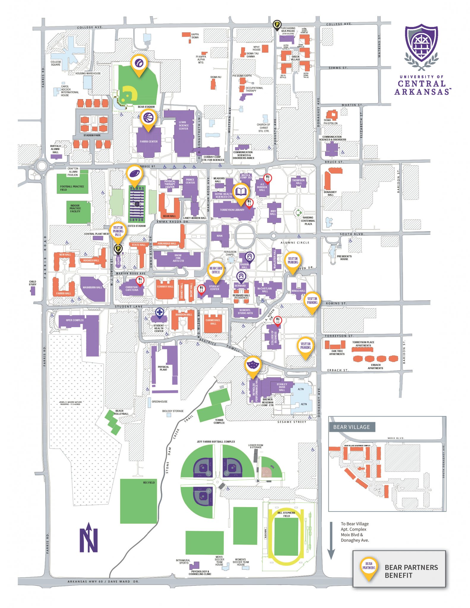 University Of Central Arkansas Campus Map.Campus Map Bear Partners