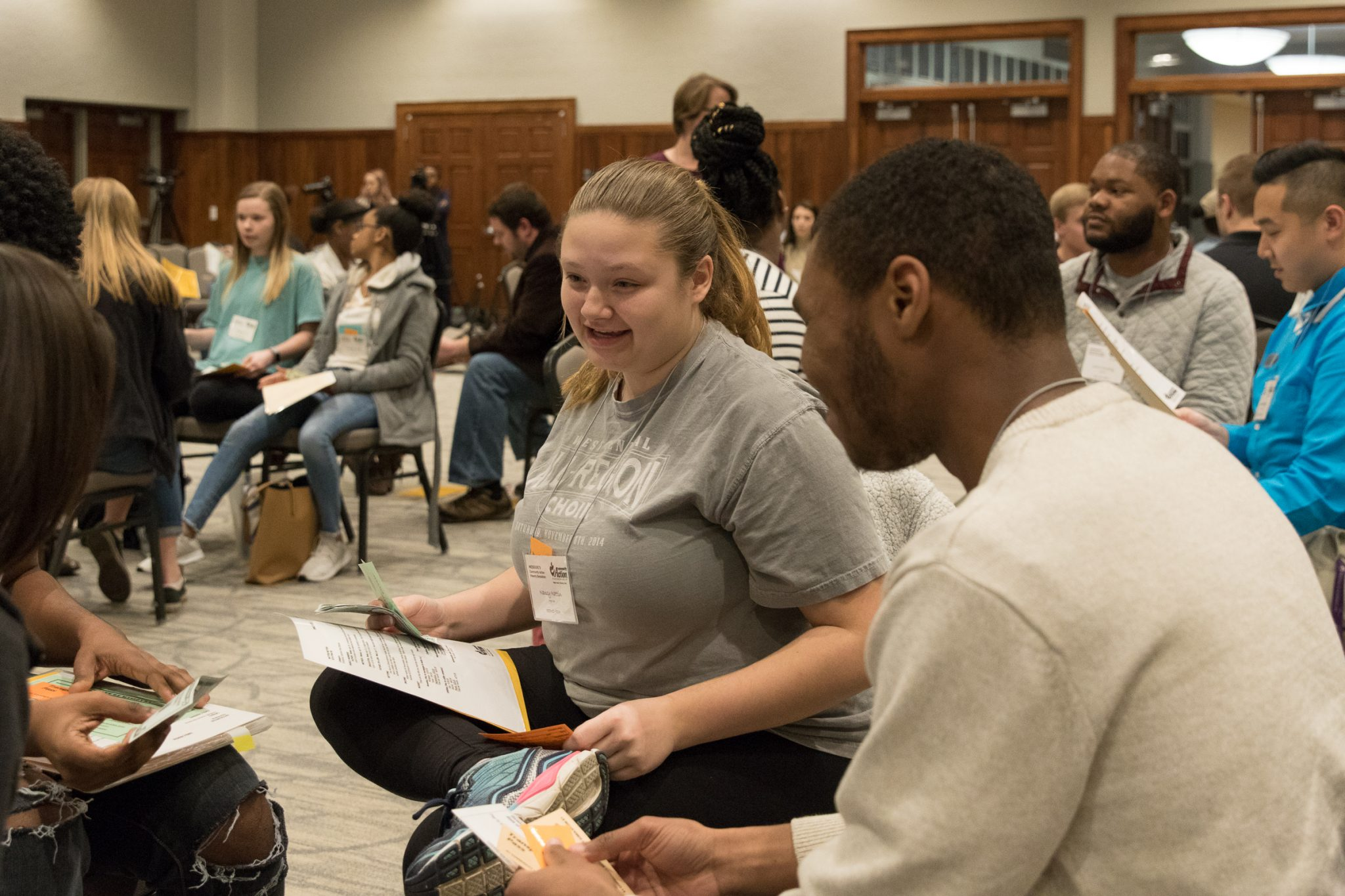 Youth participants taking part in poverty simulations at UCA.