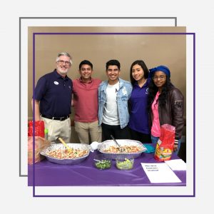 Students with President Davis at Diversity Food Fest