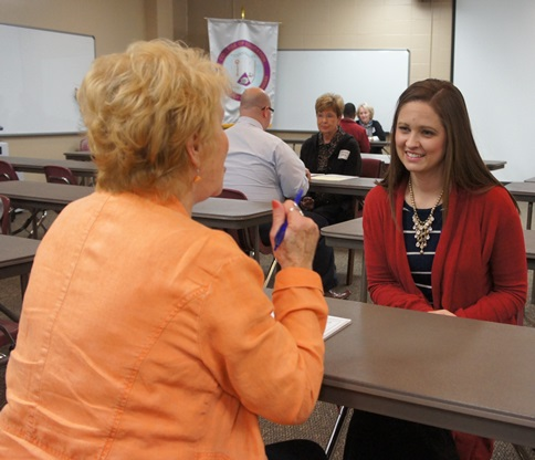 Kati Baldwin, Middle Level Education major, being interviewed by Jennie Webb, retired teacher.