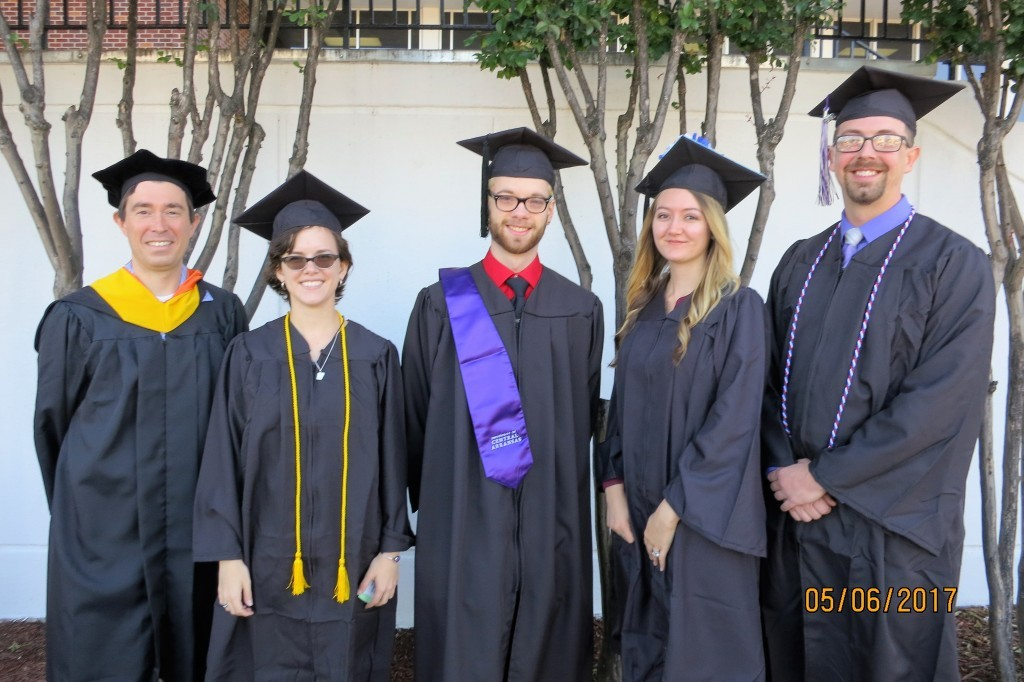 Spring 2017 Geography Graduates L to R: Incoming Department Chair Dr. Steve O'Connoll, Mackenzie Goff, Cameron Henry, Aubree Charette, and Sam Treece