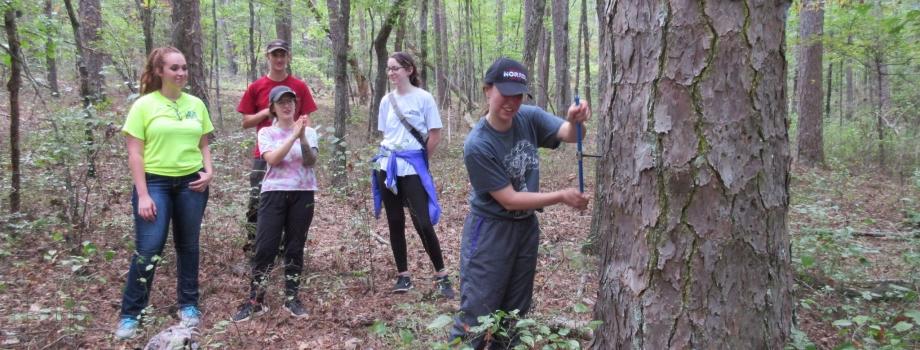 Students at field site at Lake Winona