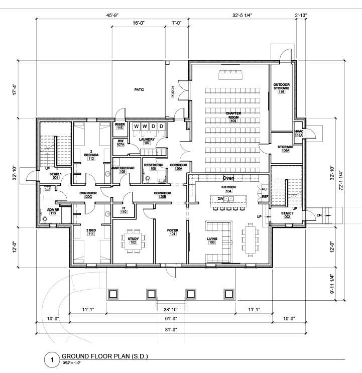 UCA Greek Fraternity Ground Floor Plan