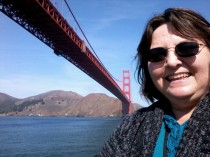 Judy at the Golden Gate Bridge