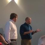 Dr. Rosenow introducing MA graduate Ty Hendricks