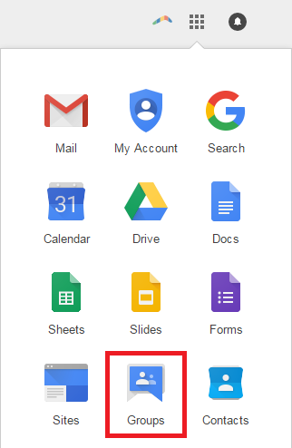google groups from app selector