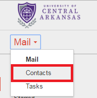 gmail contacts area