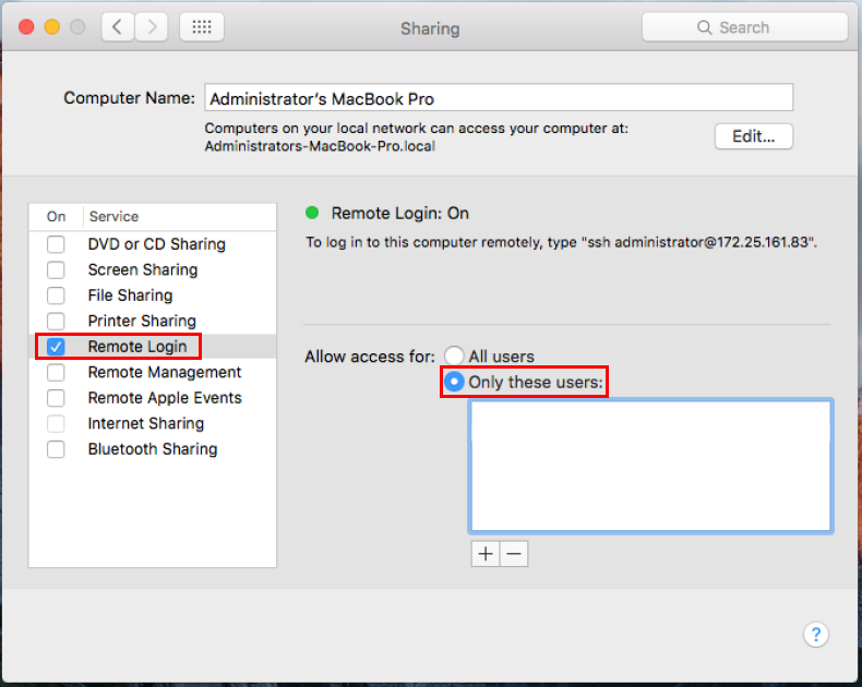 Enabling SSH on a Mac computer