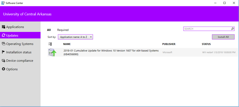 Checking Software Center for updates