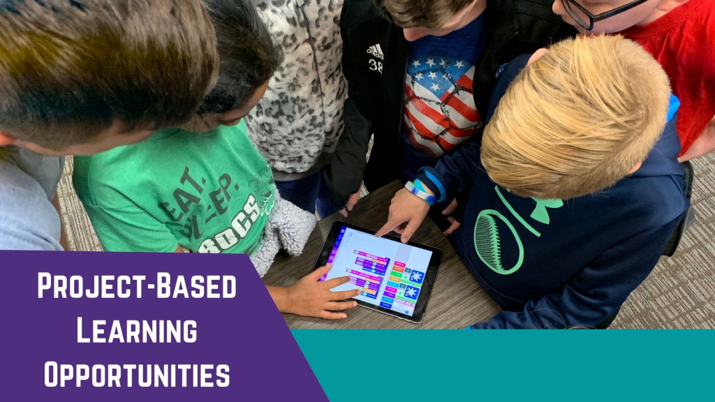 Photo of students gathered around an iPad and using block-based coding. Text: Project-based learning opportunities