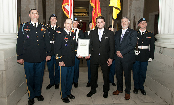 In commemoration of the 50-year anniversary of Army ROTC at UCA, the program received a Senate Citation on the floor of the Arkansas Senate in February. (front row; left to right) Shown are Sgt. 1st Class Jeremy Pine, senior military science instructor; Lt. Col. James Welch '98, former chair of the Department of Military Science and Leadership; Sen. Jason Rapert; and UCA President Houston Davis with cadets standing in the background.