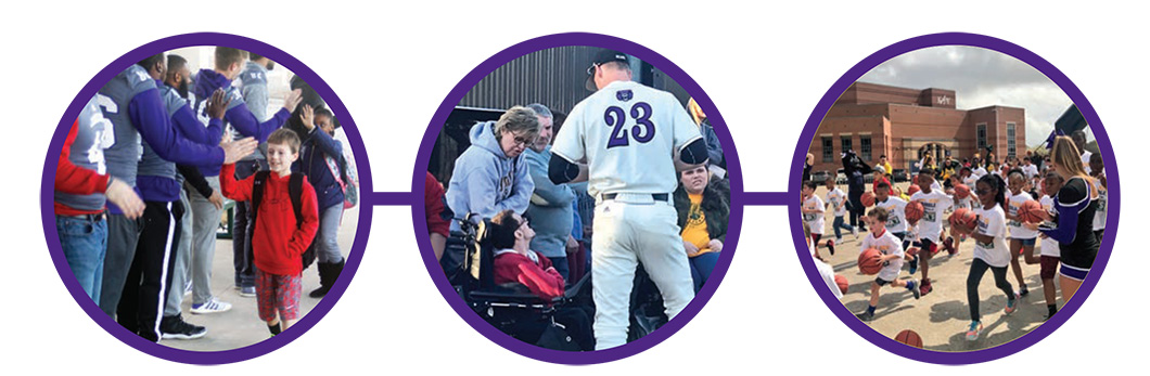 University of Central Arkansas student-athletes consistently log more than 2,000 cumulative hours of community service each school year. The 18 UCA Athletics teams support numerous community service projects including Read to Succeed, Braves Baseball and Operation Christmas Child.