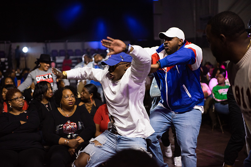 William Edwards '16 and Dennis Mattison '15, UCA alumni and members of Phi Beta Sigma, perform during the Homecoming Greek Show on Oct. 25.