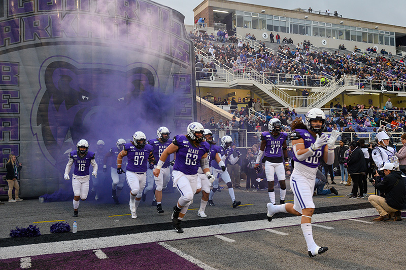 The UCA Bears enter the field to take on the Sam Houston State Bearkats for the Oct. 26 Homecoming Game.