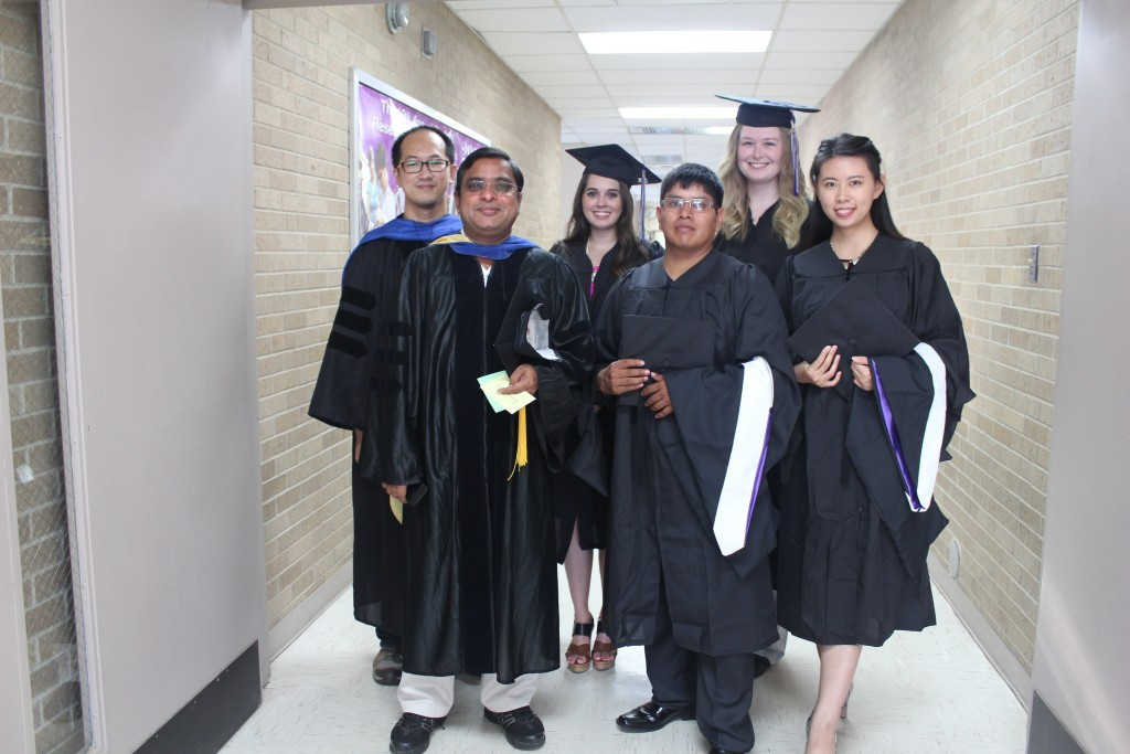 L to R: Dr. Long Le (Graduate Advisor), Dr. Ramesh Garimella (Chair), Kayle Rutherford (MA), Jaime Garcia (MS), Kristen Ellis (MA)  and Kaiyi Chen (MS)