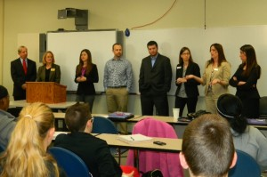 Corporate representatives make presentations to students