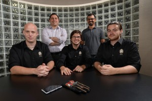 (l to right) John White, R. Kyle Eichelberger and Ben Tacket. (Back row) Dr. Sinan Kockara and Dr. Tansel Halic. Not pictured is Michelle Enfinger.