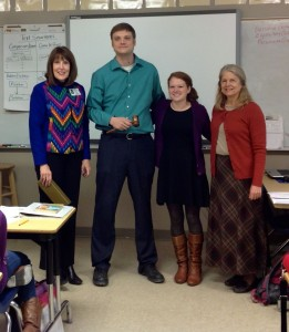 Nancy Gallavan, Emily James, and Mara Cawein present Jason Campbell with the UCA Mentor Teacher of the Semester.