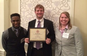 Johnathin Mablin (junior), Daniel Meador (graduate student),  and Melissa McDowell (senior) 2nd Place Winners in Leadership Competition