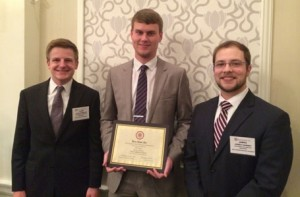 Alex Harbuck (graduate student), Tyler Stage (senior), and James Carney (senior) 2nd Place Winners in Strategic Planning Competition