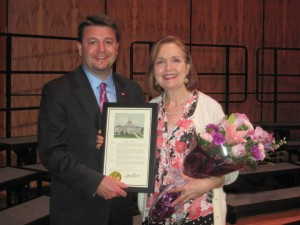 Sen. Jason Rapert presents citation to Jann Bryant