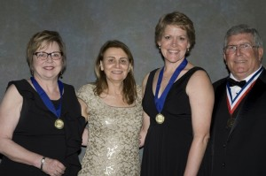 From left to right: Dr. Donna Neff, PhD, RN, FNAP (Academy Chair, Nursing); Dr. Joanne Singgleton, PhD, RN, FNAP (Academy CoChair, Nursing); Dr. Julie Meaux, PhD, RN, FNAP (Inductee); and Dr. John Herbold, DVM, MPH, Phd (President, National Academies of Practice)