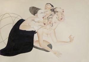 Fay Ku, Seven Headed Beast, mixed media on paper, 2013