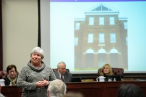 Patsy Manion speaking after the UCA Board of Trustees voted to rename Laney Hall to Laney-Manion Hall in honor of her husband, Dr. Jerry Manion.