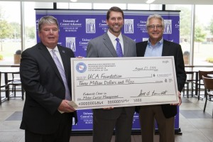 Tom Courtway, president of the University of Central Arkansas, Scott Bennett, AHTD director and Steve Williams, chairman and CEO of Maverick USA, Inc.