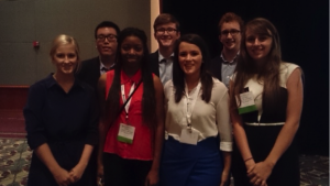 Pictured left to right: Jessica Lasater, Kevin Wan, Jessica Archer, Alex Hoyle, Abby Perdue, Jered Bryan and Rachel Street