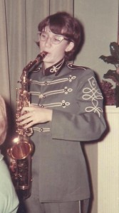Jackie Lamar with saxophone in seventh grade