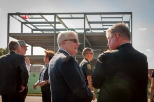 Dr. Stephen, dean of the College of Natural Sciences and Mathematics chats with Pres. Tom Courway