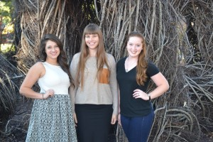 (l to r) The 2015-2016 interns at Baum Gallery are Kimberlyn Fitts, Georgia Erger and Emilia Barrick. The internships are funded by a grant from the Windgate Charitable Foundation.