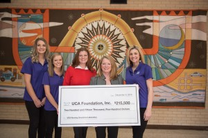 UCA nursing students Alex Shaffer, Maggie Mehl and Grace Tolliver join Ashley M. Blakenship and Elizabeth Blankenship during a check presentation to the UCA Department of Nursing.