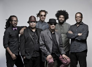Pictured left to right are Joe Sanders, Nicholas Payton, Gerald Clayton, Raul Midón, Justin Brown (will not be performing) and Ravi Coltrane. Photo credit R.R. Jones.